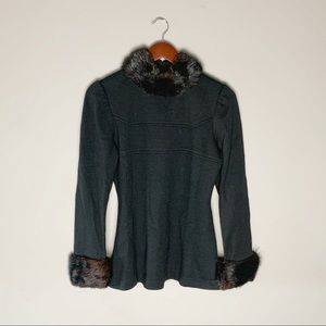 💋SALE, Mid century top with real fur trim